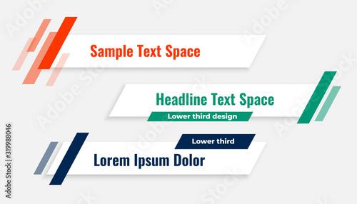 Fototapeta geometric modern lower third banner template design obraz