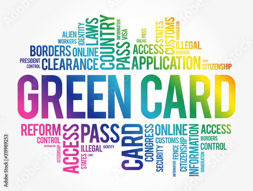 Green card word cloud collage, immigration concept background Wallpaper Mural