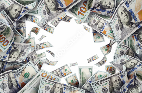 flying money american one hundred dollar bills white background