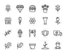 Vector Set Of Flower Line Icons. Contains Icons Of Bouquet, Flower Shop, Tulips, Rose, Flower Basket, Vase, Gardener And More. Pixel Perfect.