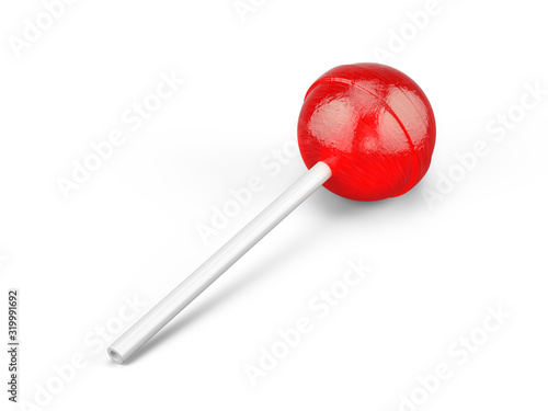 Fototapeta Red sweet lollipop - round candy on white stick isolated on white