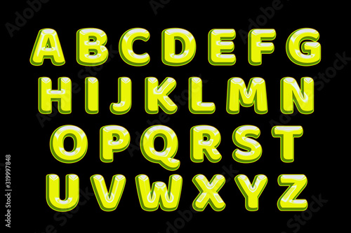 Chrome yellow text effect alphabet Slika na platnu