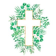Watercolor Easter Cross Clipart, Spring Floral Arrangements, Baptism Crosses DIY Invitation, Greenery Easter Clipart, Golden Frame And Foliage, Holy Spirit, Religious, Hand Drawn