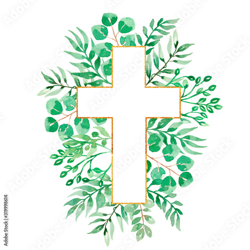 Watercolor Easter Cross Clipart, Spring Floral Arrangements, Baptism Crosses DIY Fototapete