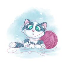 Little Cute Kitten Tangled In ...