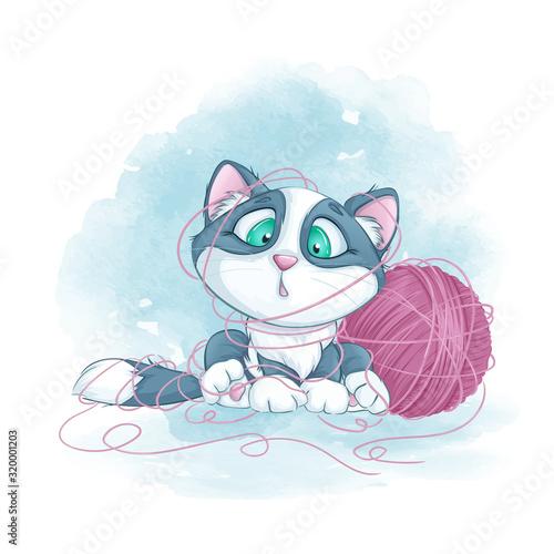 Little cute kitten tangled in a ball of yarn Canvas Print