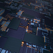 Circuit board futuristic server code processing. Angled view black color technology background. 3d
