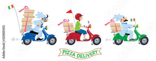 Funny pizza chef on scooter. Pizza delivery logo set