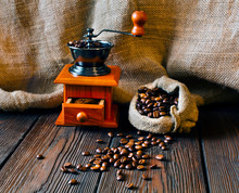 Coffee Beans In Jute Bag With ...