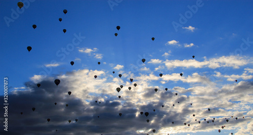 Silhouette of many balloons in the sky in the morning light during the albuquerq Wallpaper Mural