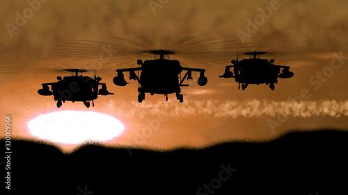 Photo Apache gunship silhouette at brown sunset