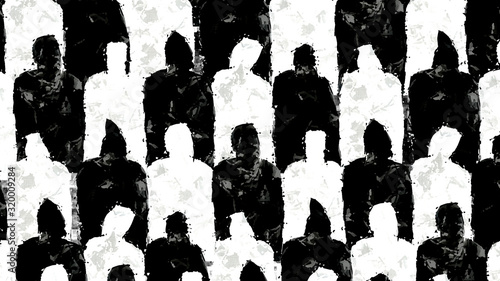 Fototapeta Black and white people silhouettes illustration obraz