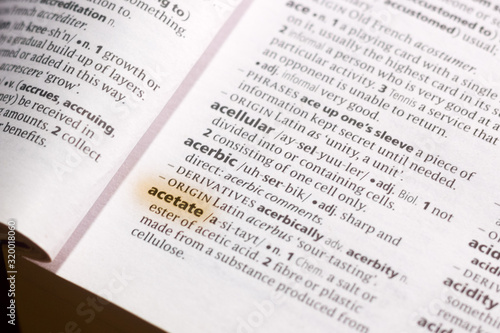 The word or phrase Acetate in a dictionary. Fototapet