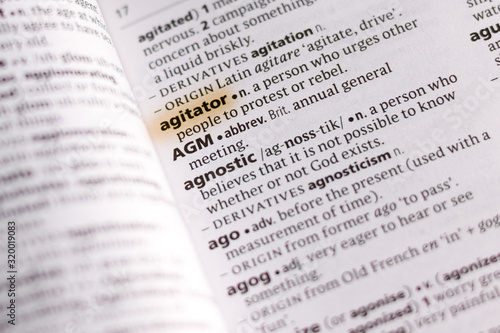 The word or phrase Agitator in a dictionary. Wallpaper Mural