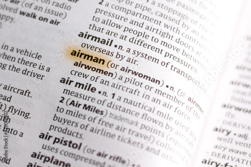 The word or phrase Airman in a dictionary. Wallpaper Mural