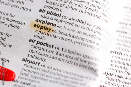 The word or phrase Airplay in a dictionary. Wallpaper Mural