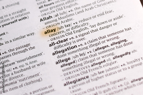 Photo The word or phrase Allay in a dictionary.