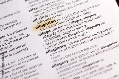 The word or phrase Allegation in a dictionary. Canvas Print