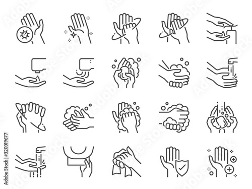 Photo Hand washing line icon set