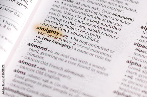 The word or phrase Almighty in a dictionary. Canvas Print