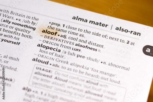The word or phrase Aloof in a dictionary. Canvas Print