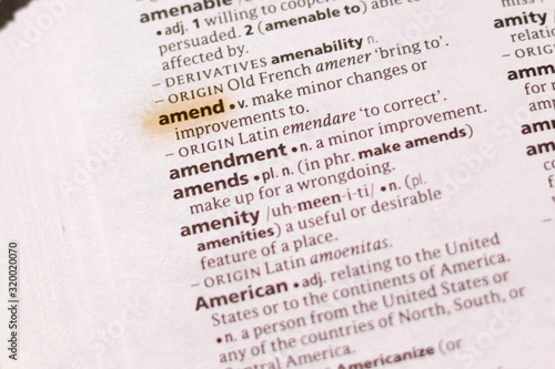 The word or phrase Amend in a dictionary. Canvas Print