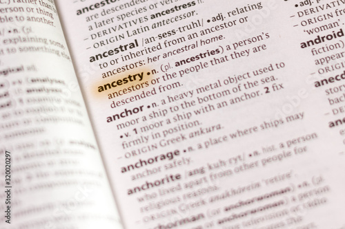 Photo The word or phrase Ancestry in a dictionary.