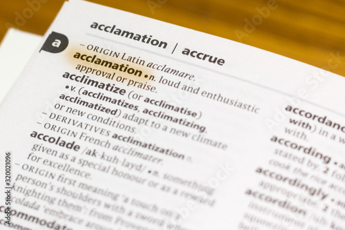 Photo Ivanovsk, Russia - November 19, 2018: The word or phrase Acclamation in a dictionary