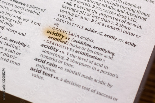 Photo Ivanovsk, Russia - November 19, 2018: The word or phrase Acidity in a dictionary