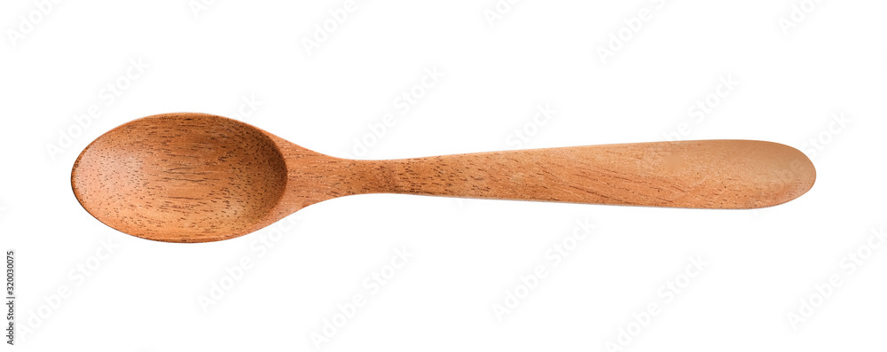 Fototapeta Top view Wooden spoon isolated on white background clipping path.