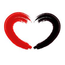 Red Black Heart Stroke, Vector Art Illustration.