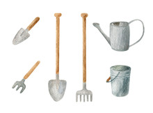Watercolor Gardening Tools Set...