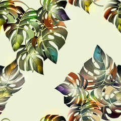 Fototapeta Liście Tropical background with jungle plants. Vector exotic pattern with palm leaves.