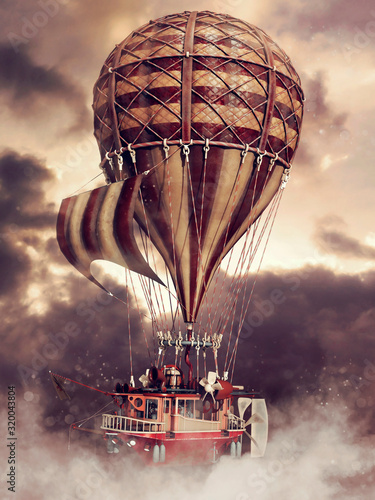 Fantasy steampunk flying ship with a balloon up in the clouds Canvas Print