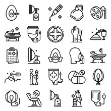 Anesthesia Icons Set. Outline ...