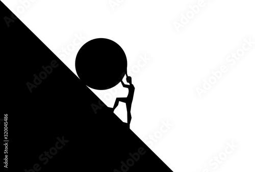 Fototapeta man pushing big boulder uphill