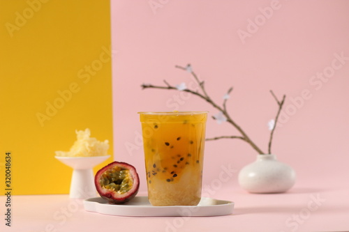 Fototapeta Homemade frozen passion fruit drink obraz
