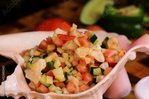 Close-Up Of Conch Salad Fototapeta