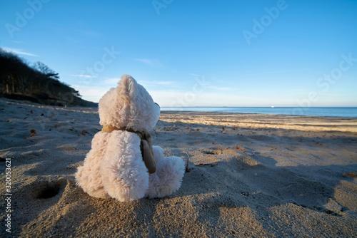 Fotografering Trauriger Teddybär mit Fernweh am Strand der Ostsee bei Warnemünde