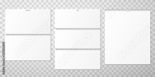 Foto Wall calendar design mockups with blank pages and spiral binding