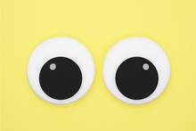 Cute Googly Eyes Funny Isolated On Yellow Pastel Background , Crazy Kawaii Eyes Minimal Idea Creative Concept & Business ,banner, Poster, Cover, Logo Design Template Element.