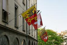 Street With Flags On Rue De Hotel-de-Ville At Geneva Old Town, Switzerland