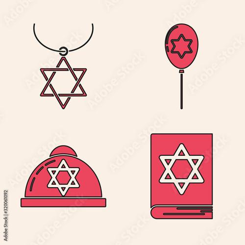 Fotografie, Obraz Set Jewish torah book, Star of David necklace on chain, Balloons with ribbon with star of david and Jewish kippah with star of david icon