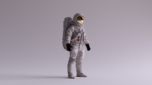 Astronaut With Gold Visor And White Spacesuit With Light Grey Background With Neutral Diffused Side Lighting 3 Quarter Right 3d Illustration 3d Render