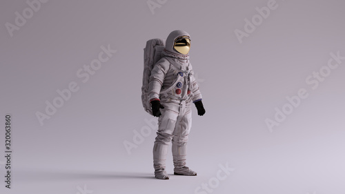 Astronaut with Gold Visor and White Spacesuit With Light Grey Background with Ne Canvas Print