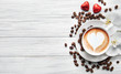 canvas print picture A cup of coffee with heart pattern