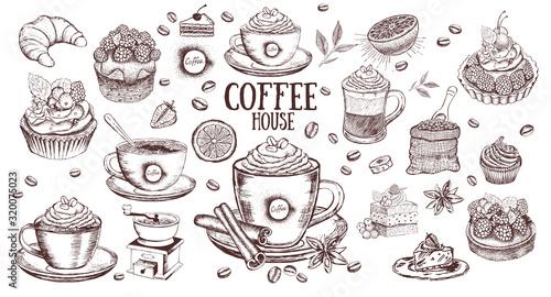 Photo Coffee set. Hand drawn illustration