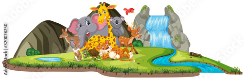 Photo Scene with many cute animals by the waterfall
