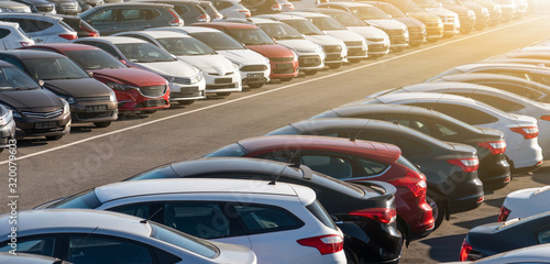 Fotografia, Obraz Cars in a row. Used car sales