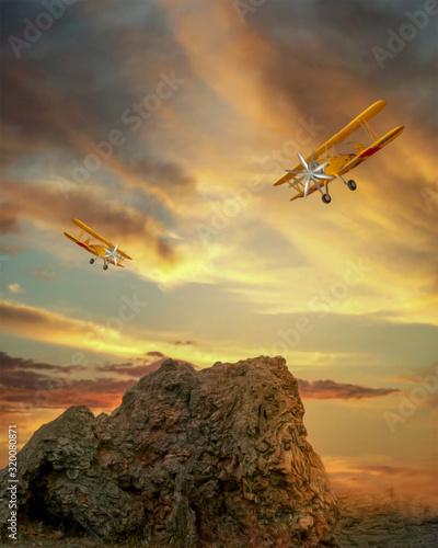 klif-i-dwa-stare-samoloty-tlo
